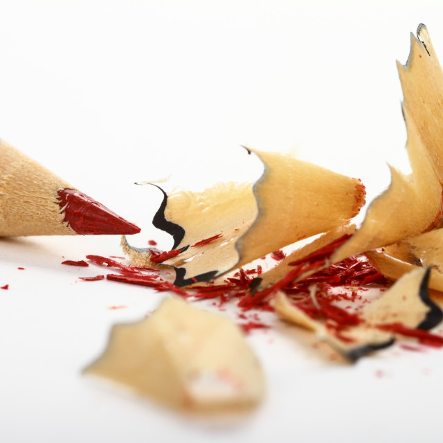 """""""Red pencil with shavings"""" stock image"""