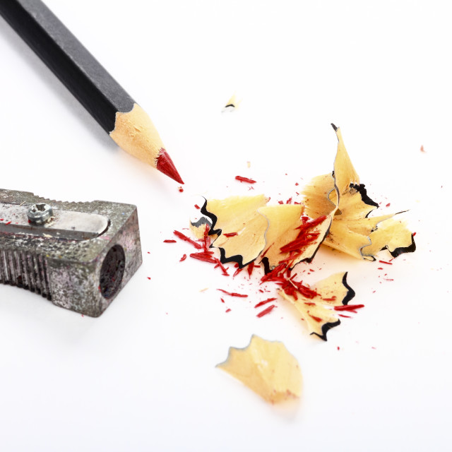 """""""Red pencil and sharpener with shavings"""" stock image"""