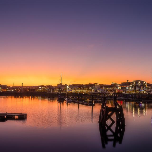 """Cardiff Bay Sunset Panorama"" stock image"