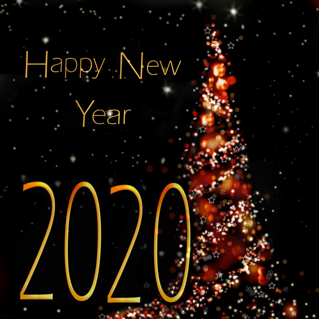 """happy new year 2020 written on abstract christmas tree on black background"" stock image"