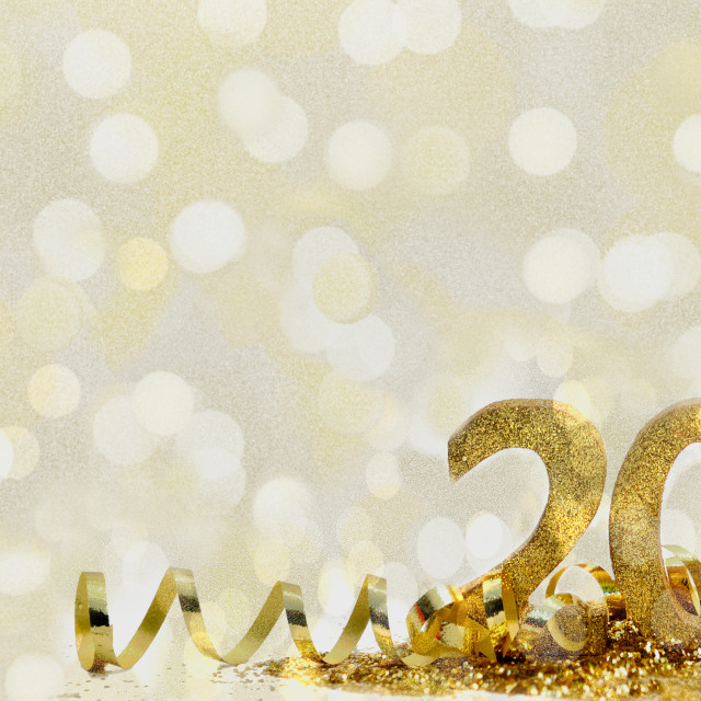"""2020 golden figure in ribbon and glitters on abstract background"" stock image"