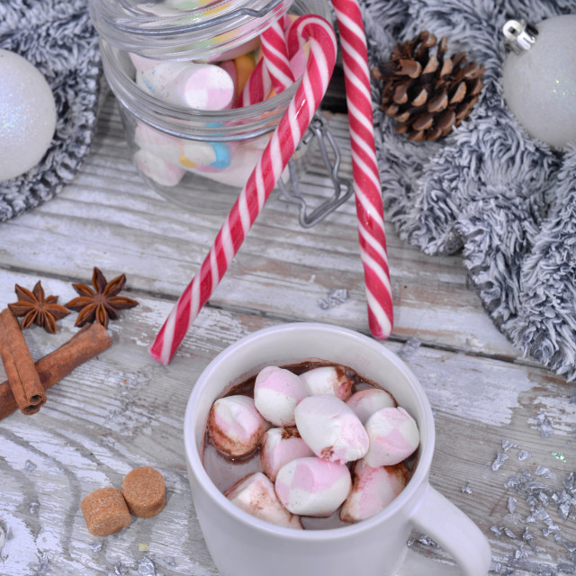 """mug full of marshmallow on a milk chocolate on a table in christmas decoration"" stock image"