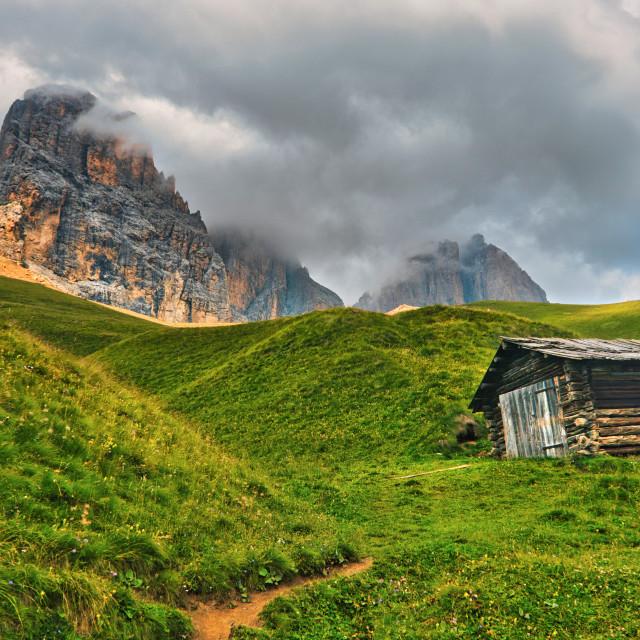 """Alpin wooden hut"" stock image"