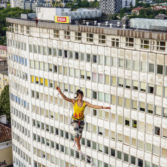 """Highlining over Wieniawska Street, Urban Highline Festival, Lublin, Lublin..."" stock image"