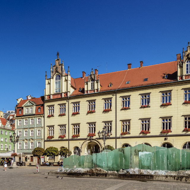 """""""New City Hall at Market Square, Wroclaw, Lower Silesian Voivodeship, Poland"""" stock image"""