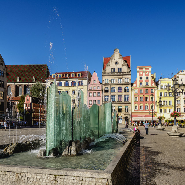 """""""Fountain and Tenement Houses at Old Town Market Square, Wroclaw, Lower..."""" stock image"""