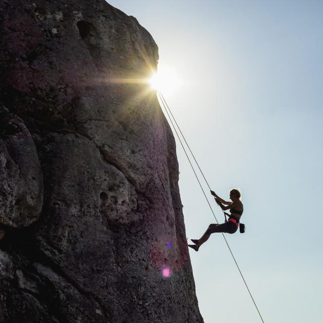 """""""Climbing at Rzedkowickie Rocks, Rzedkowice, Krakow-Czestochowa Upland or..."""" stock image"""