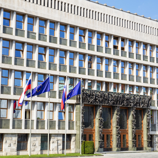 """Slovenian parliament building National assembly building Šubičeva ulica Trg..."" stock image"