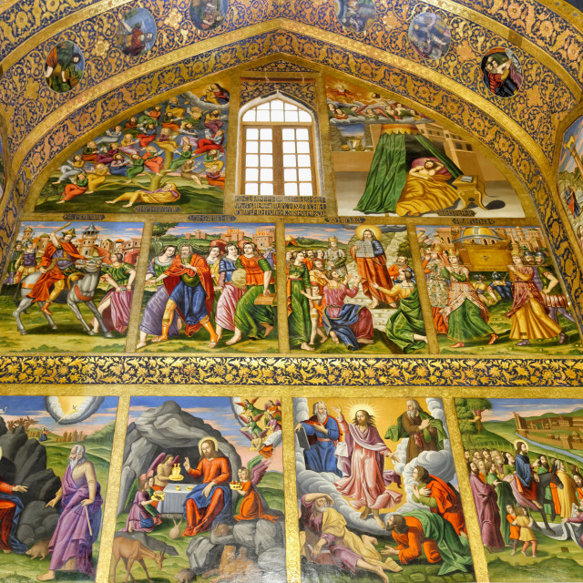 """Interior, Frescos representing scenes of the Bible, Holy Savior or Vank..."" stock image"