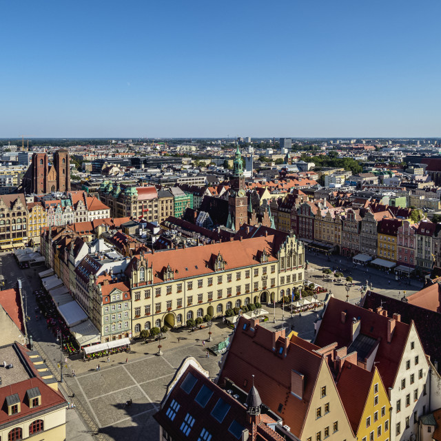 """""""Market Square, elevated view, Wroclaw, Lower Silesian Voivodeship, Poland"""" stock image"""
