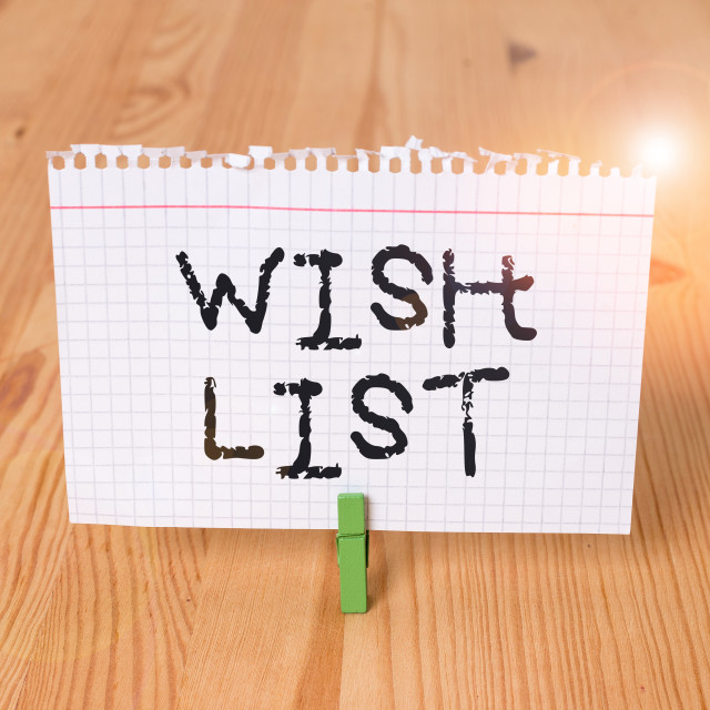 """Word writing text Wish List. Business concept for List of desired but often..."" stock image"