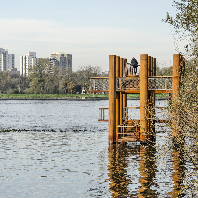 """""""Viewing platform and opposite river bank"""" stock image"""