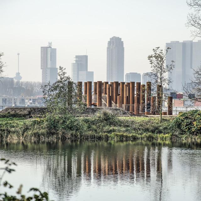 """Rotterdam island, viewpoint and skyline"" stock image"