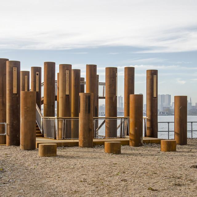 """Forest of corten steel columns"" stock image"