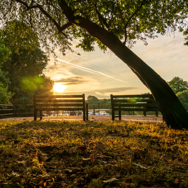 """""""Sunrise over the Thames in Twickenham, West London, looking towards Richmond"""" stock image"""