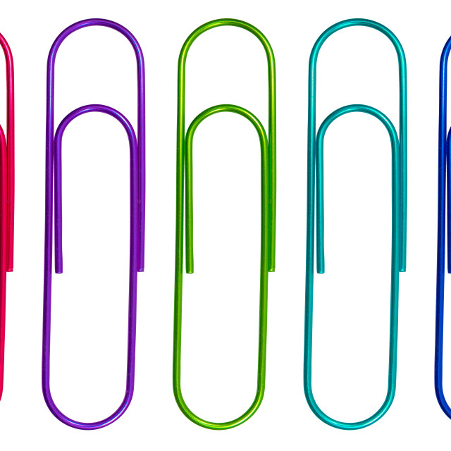 """""""Isolated Multicolored Paperclips"""" stock image"""
