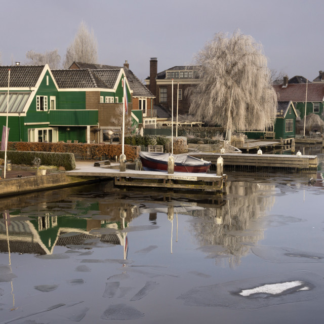 """""""Houses along the river Zaan"""" stock image"""