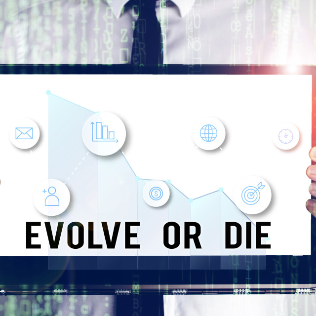 """""""Word writing text Evolve Or Die. Business concept for Necessity of change..."""" stock image"""