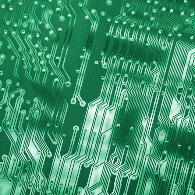 """Colorful pattern of green circuit board tracks"" stock image"