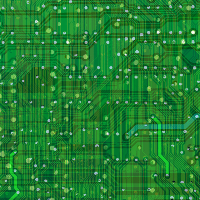 """Close up of green circuits on motherboard"" stock image"