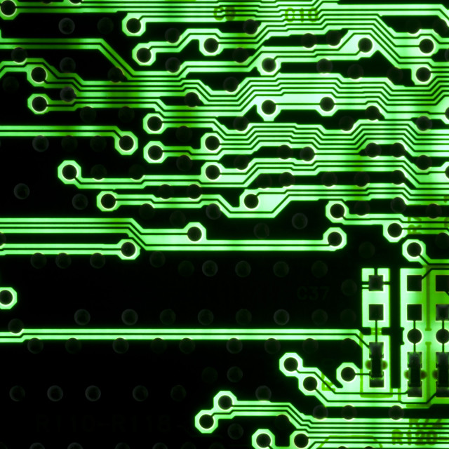 """Printed electronics circuit board with green"" stock image"