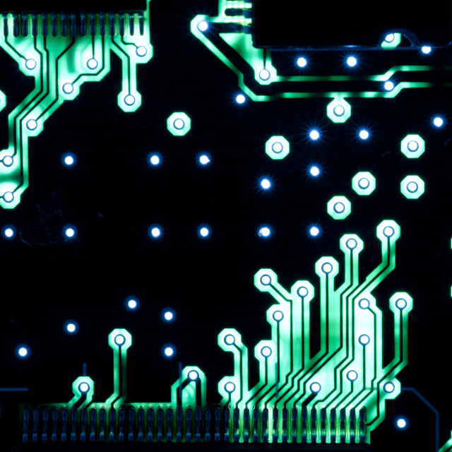 """Green conductive electronic tracks"" stock image"