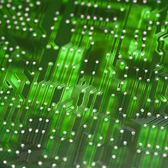 """Glowing green electronic circuit"" stock image"