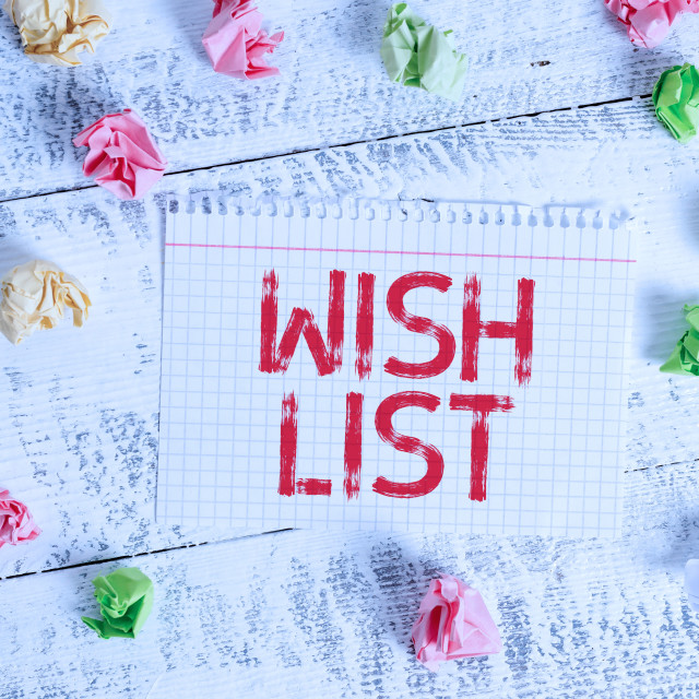 """Handwriting text writing Wish List. Concept meaning List of desired but often..."" stock image"