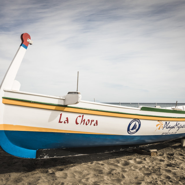 """Old traditional rowing Boat on the beach of Carihuela, Torremolinos, Costa del Sol, Spain."" stock image"