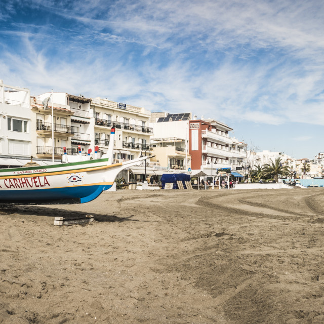 """""""Old traditional rowing Boat on the beach of Carihuela, Torremolinos, Costa del Sol, Spain."""" stock image"""