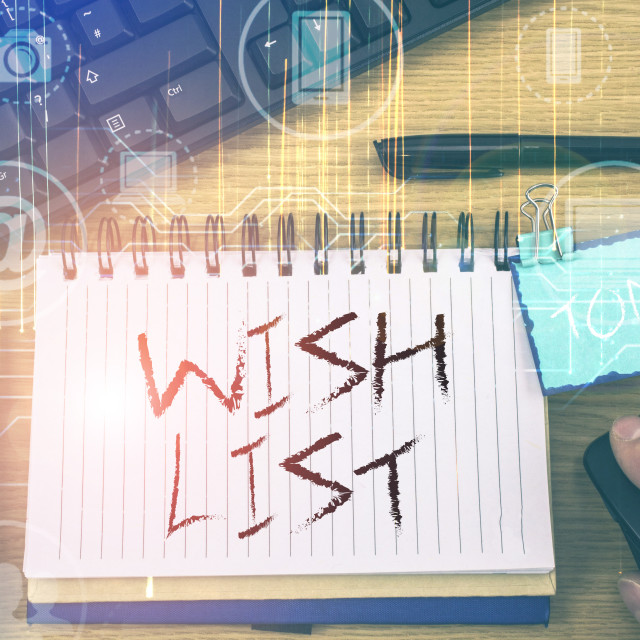 """Handwriting text Wish List. Concept meaning List of desired but often..."" stock image"