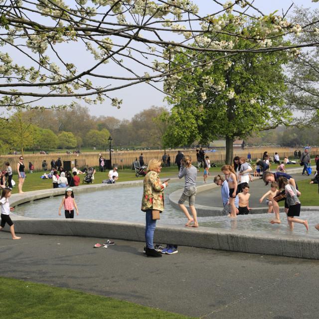 """Diana Princess of Wales Memorial Water Fountain in Hyde Park, London,..."" stock image"