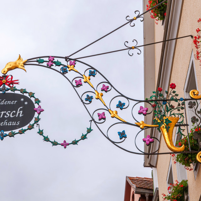 """Forged decorative sign of Gasthof Hotel Hirsch in Rothenburg"" stock image"