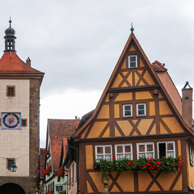 """Siebersturm and famous tiny yellow crooked house with wood frami"" stock image"