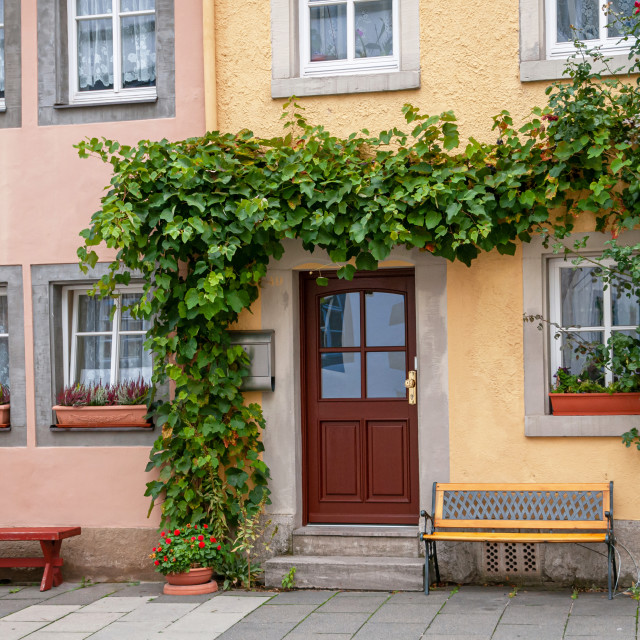 """Typical historical German yellow and pink houses in Old Quarter"" stock image"
