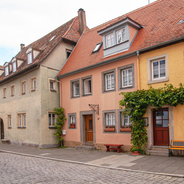 """Typical historical German warm yellow and pink houses in Old Qua"" stock image"