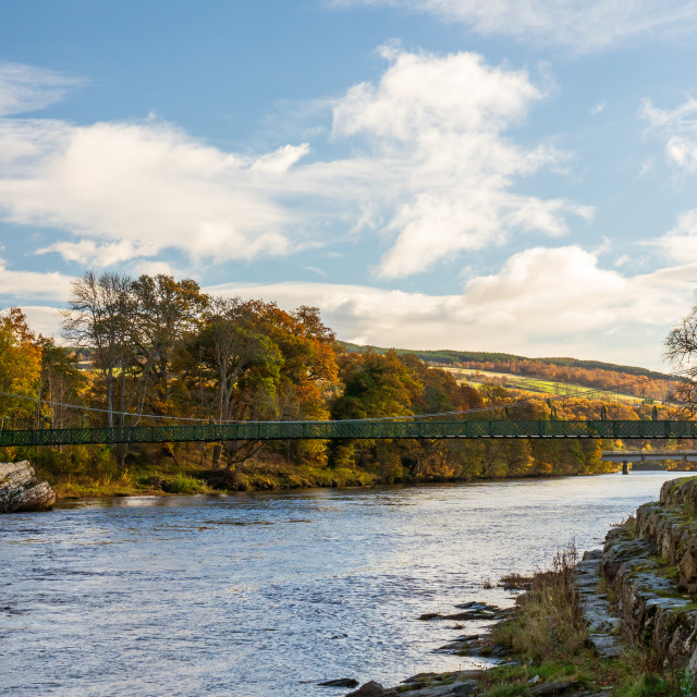 """""""A view of the Tummel river running along Pitlochry, in Perthshire, Scotland"""" stock image"""