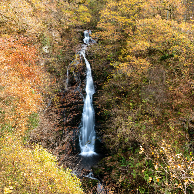 """""""Black spout waterfall outside of Pitlochry, Perthshire,, Scotland"""" stock image"""