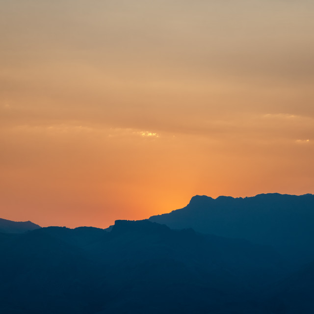 """Sunset over the Steens Mountains in eastern Oregon"" stock image"