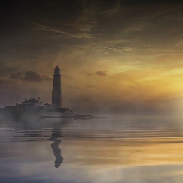 """""""St Mary's Lighthouse in the Mist"""" stock image"""