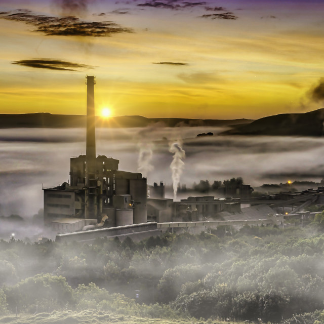 """""""Mist in the Hope Valley, Derbyshire Peak District"""" stock image"""