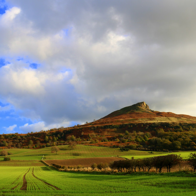 """""""Storm clouds over Roseberry Topping."""" stock image"""