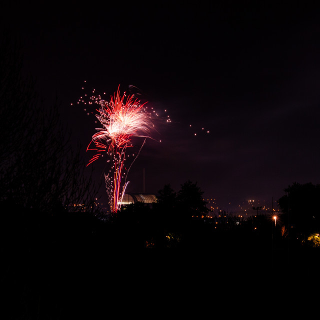 """Firework over city"" stock image"