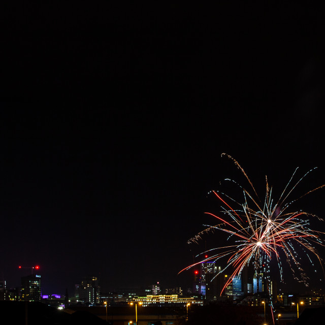 """Firework over Leeds City Centre"" stock image"