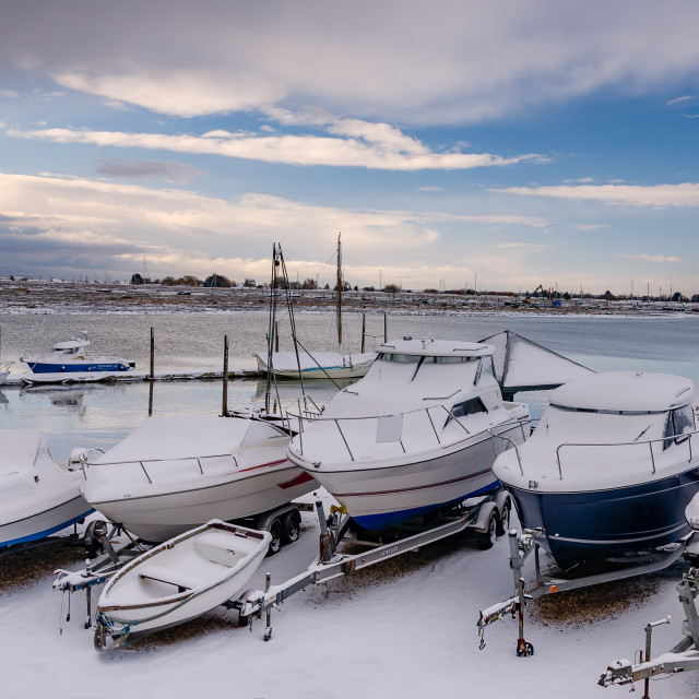 """""""Snow in the boatyard"""" stock image"""