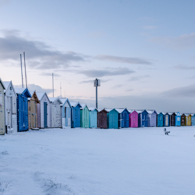 """""""Beach huts in the snow"""" stock image"""