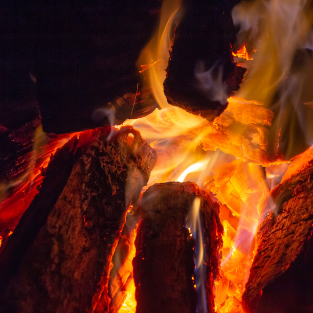 """Close up of a burning camp fire"" stock image"