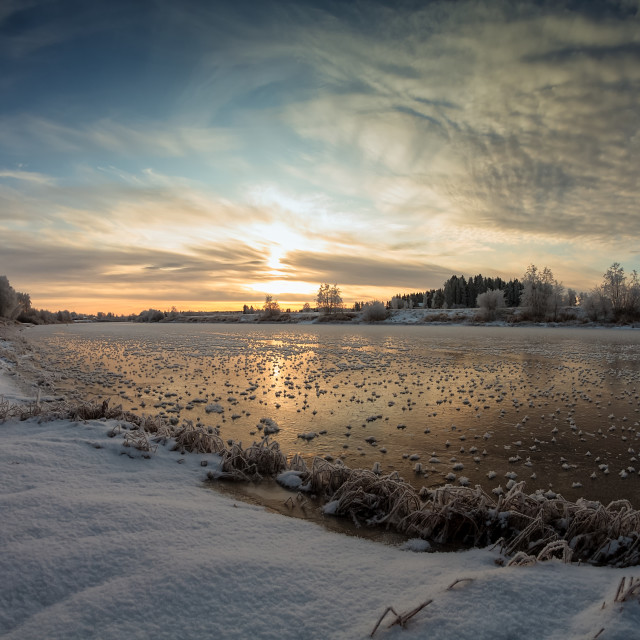 """""""Frosty River Bank"""" stock image"""