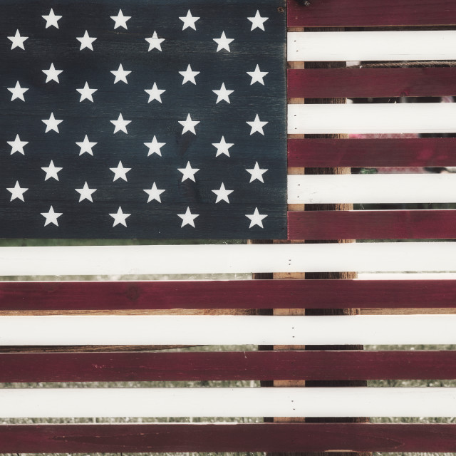 """""""A homemade American flag painted on wood boards with a rustic design"""" stock image"""