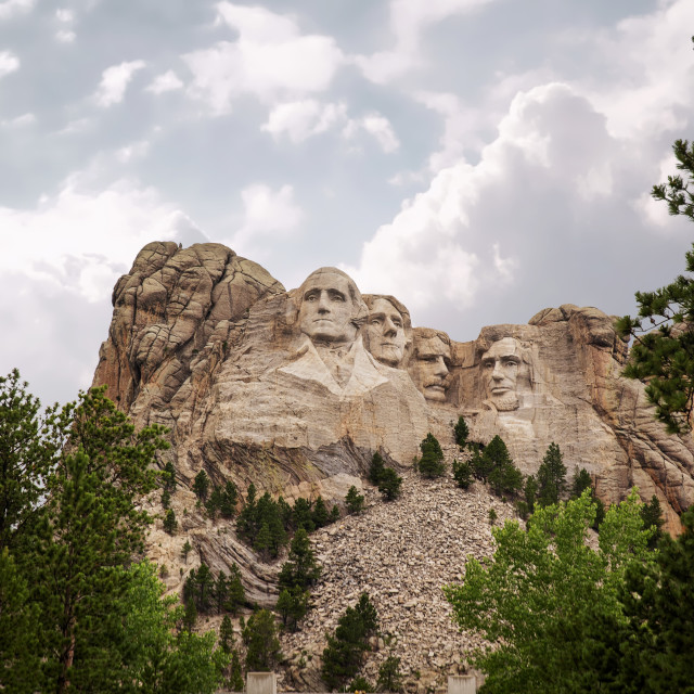 """""""Four presidents heads carved into the rock at Mount Rushmore South Dakota in a summer landscape"""" stock image"""